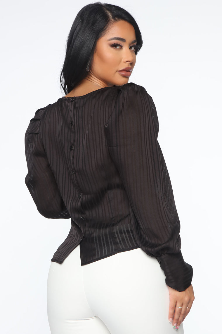 Working The Room Puff Sleeve Top - Black