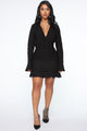 Doing Big Things Ruched Mini Dress - Black