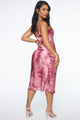 Soul Seeking Tie Dye Satin Midi Dress - Mauve