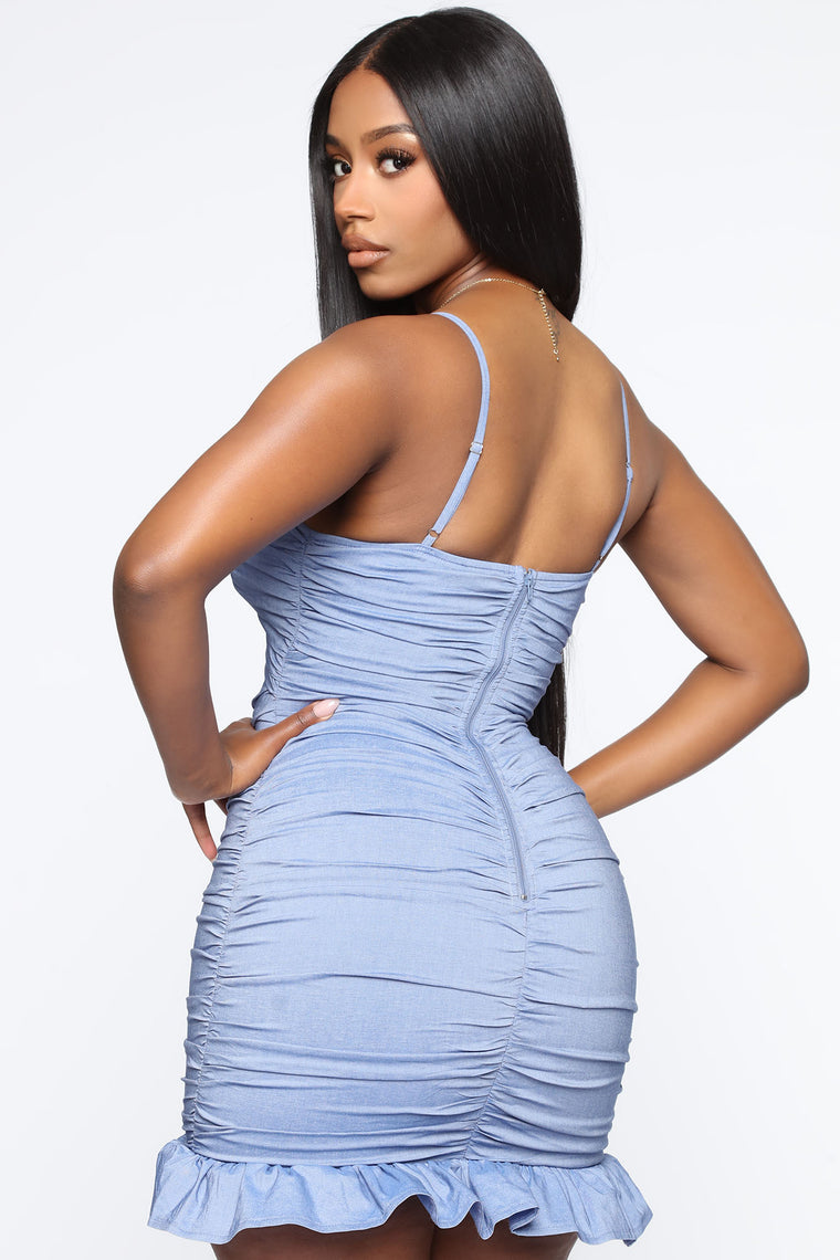 Better Recognize Ruched Mini Dress - Blue