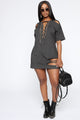 Don't Mess With Distressed Tee Dress - Black
