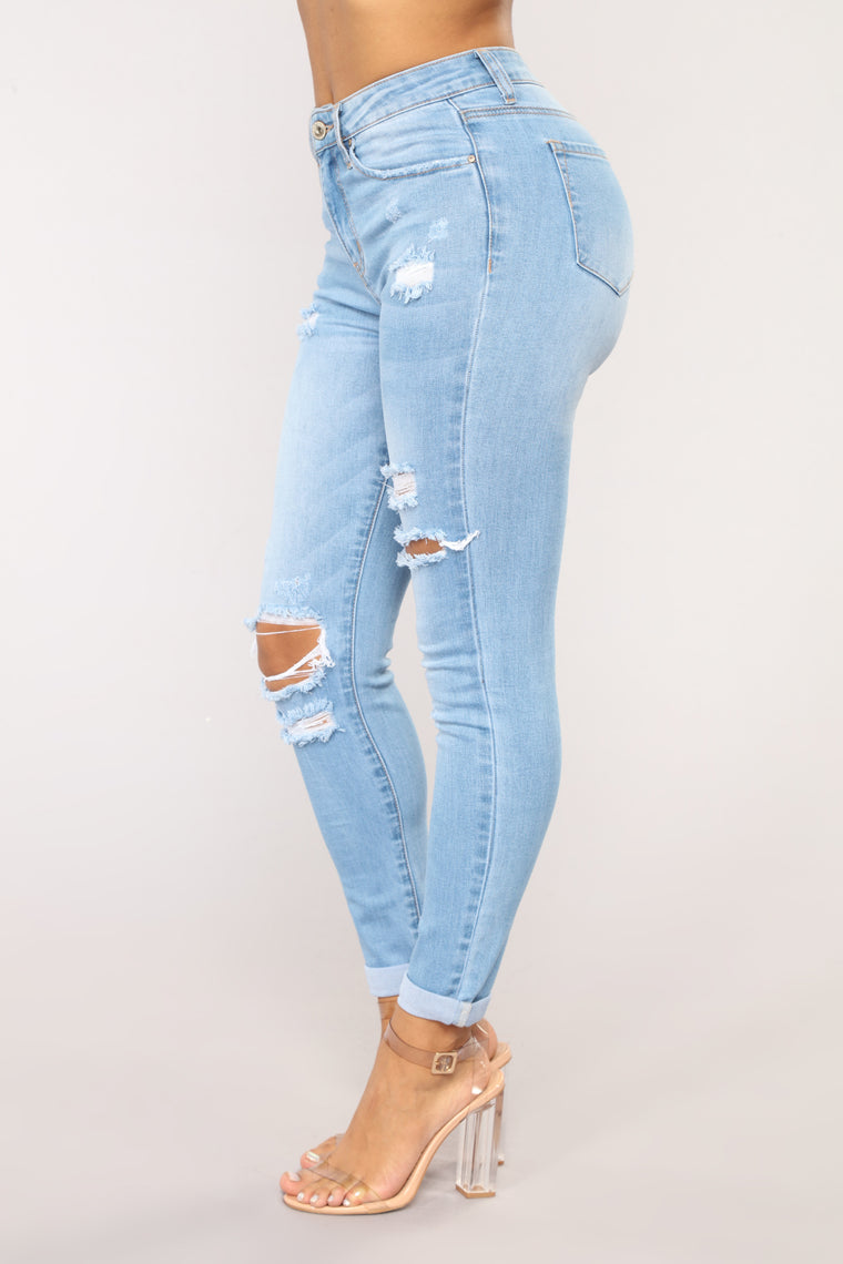 Johanna Distressed Skinny Jeans - Light Wash