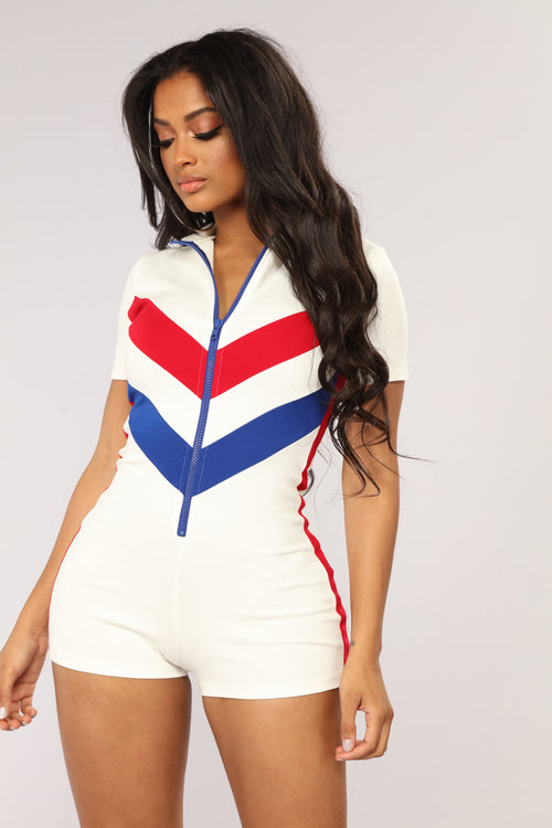 Champion Colorblock Romper - Ivory/Red