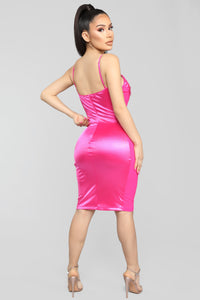 Sultry Thoughts Satin Dress - Fuchsia