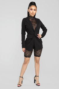 Front Row Lace Romper And Blazer Set - Black Angle 1
