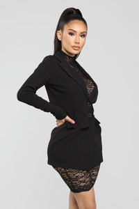 Front Row Lace Romper And Blazer Set - Black Angle 2