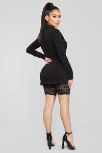 Front Row Lace Romper And Blazer Set - Black Angle 4