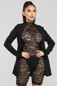 Front Row Lace Romper And Blazer Set - Black Angle 5