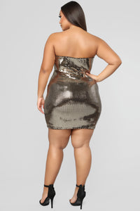Honeycomb Metallic Dress - Gold