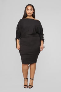 His First Crush Ruched Dress - Black
