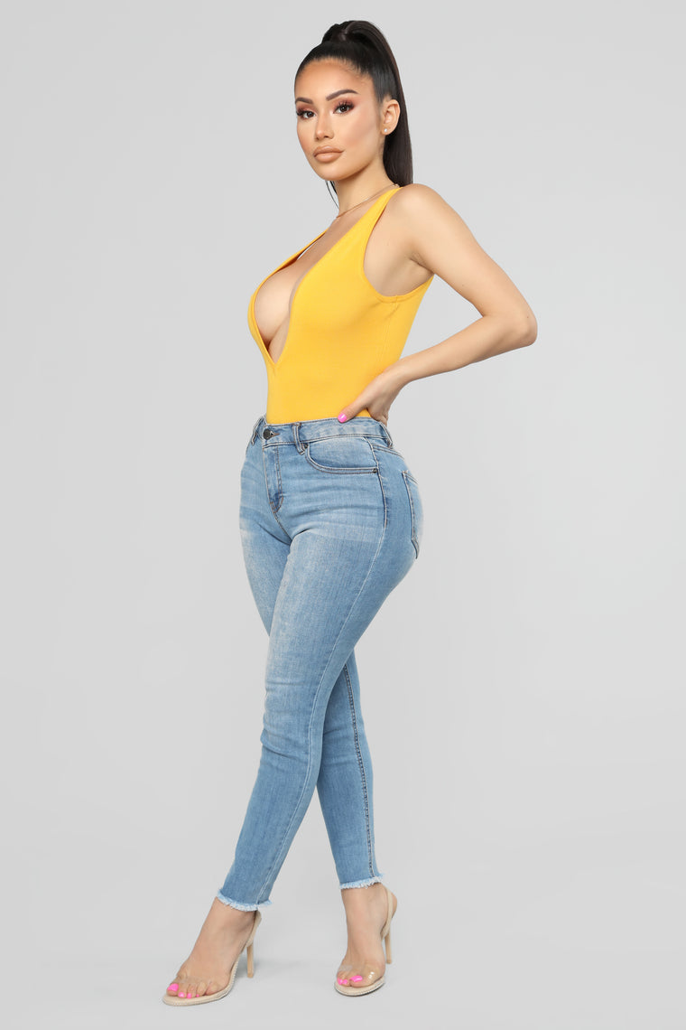 Time To Vacay Bodysuit - Yellow