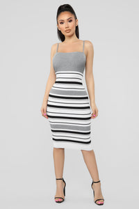 Promises Kept Stripe Sweater Dress - Heather Grey/Combo Angle 1