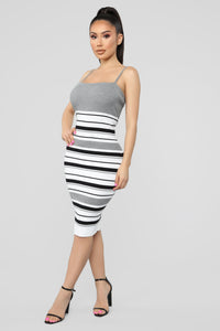 Promises Kept Stripe Sweater Dress - Heather Grey/Combo Angle 3