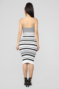 Promises Kept Stripe Sweater Dress - Heather Grey/Combo Angle 4