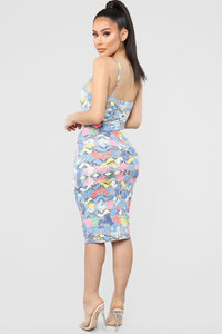 Sneaking Away Snake Skin Dress - Blue/Multi