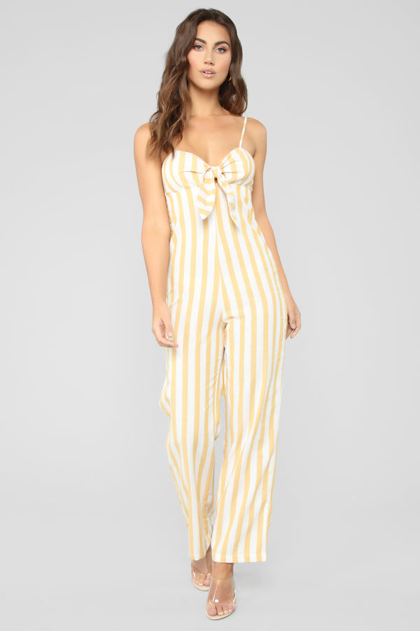e37a1e9fc1 Sadira Striped Jumpsuit - Mustard White