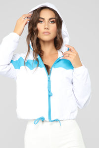 Watch Out Windbreaker Jacket - White/Blue