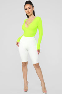 For My Love Bodysuit - Neon Yellow