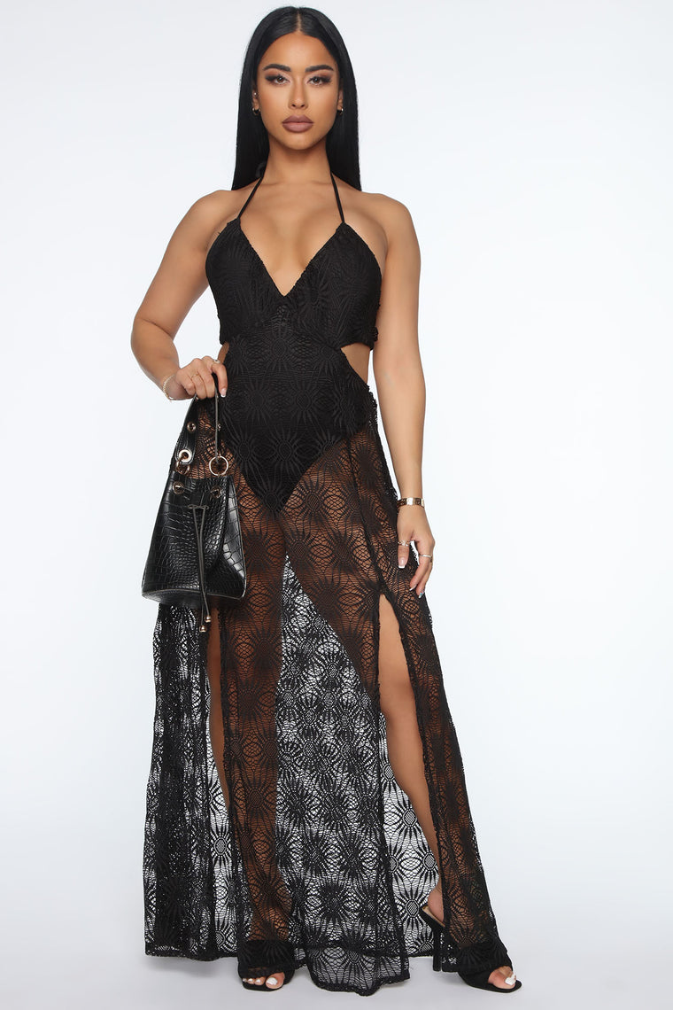 Enchant Me Crochet Maxi Dress - Black