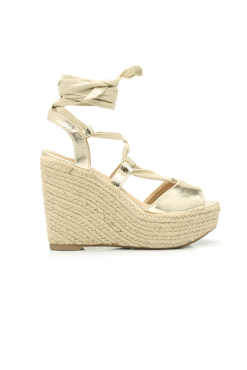 Tie Up Wedge - Gold