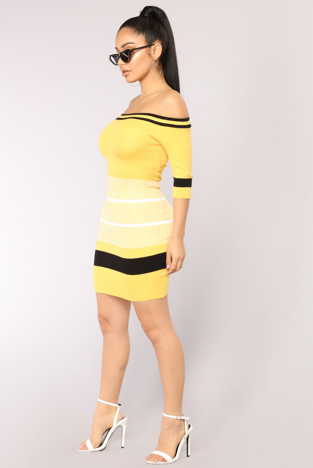 Bumble Bee Striped Dress - Yellow