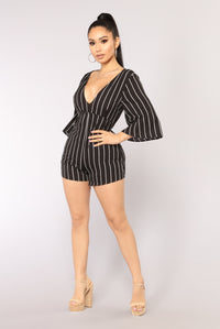 Extra Key Stripe Romper - Black