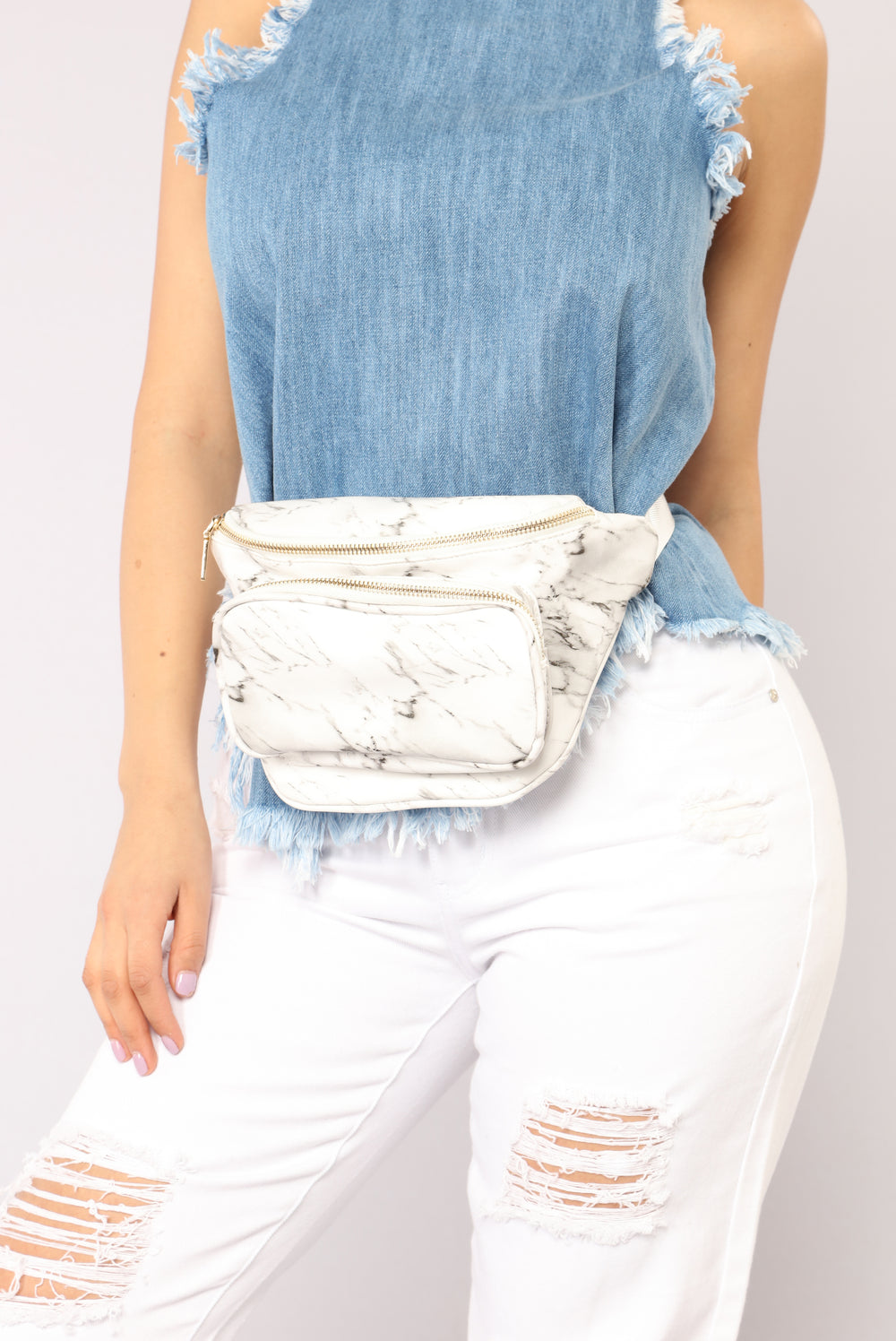Wild Style Marble Fanny Pack - White