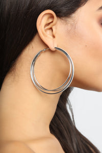 Shine On You Hoop Earrings - Silver Angle 2