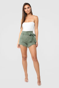 Breaking News Paperbag Waist Shorts - Olive Angle 2
