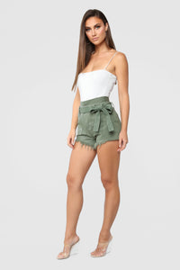 Breaking News Paperbag Waist Shorts - Olive Angle 4