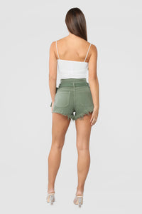 Breaking News Paperbag Waist Shorts - Olive Angle 5