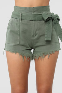 Breaking News Paperbag Waist Shorts - Olive Angle 1