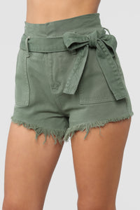 Breaking News Paperbag Waist Shorts - Olive Angle 3