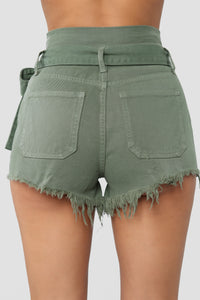Breaking News Paperbag Waist Shorts - Olive Angle 6