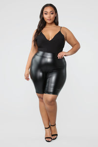 Not Your Ordinary Ruched Biker Shorts - Black