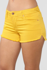 Love Or Lust Denim Shorts - Mustard