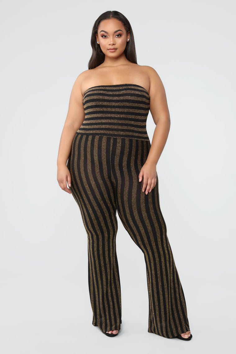 a10d8cadbad Down And Counting Striped Jumpsuit - Gold Black