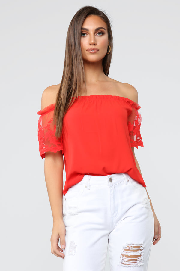 39a2c4beeefa2a Brandy Off Shoulder Top - TomatoRed