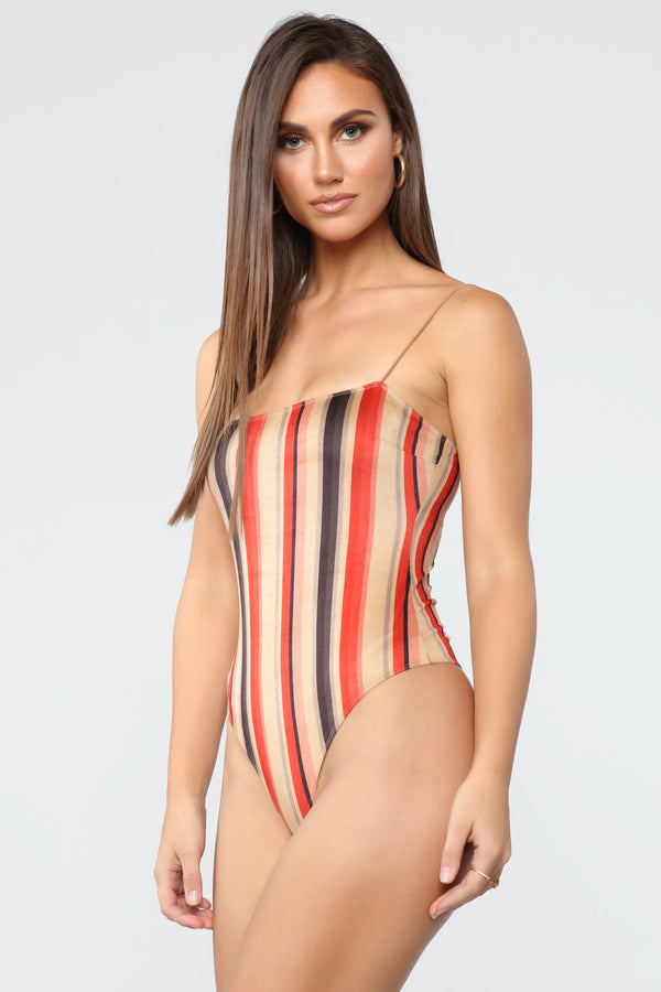 6cc43c72392 With You Suede Stripe Bodysuit - Taupe Combo