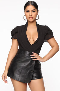 Good Thing With You Surplice Bodysuit - Black Angle 2