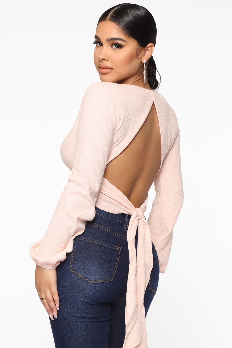 Twisted And Confused Cropped Top - Blush