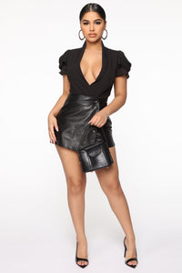 Good Thing With You Surplice Bodysuit - Black Angle 3