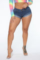 Juicy Cuffed Booty Short - Medium Blue Wash