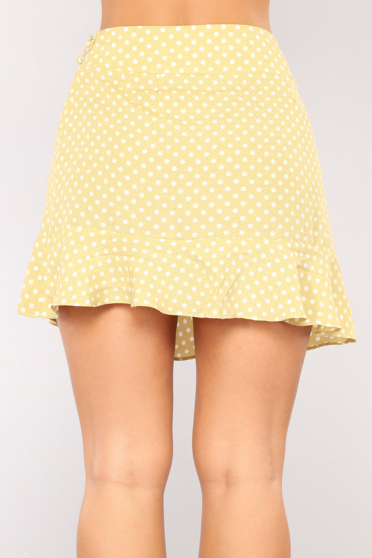 Favorite Polka Dot Skirt - Misty Yellow