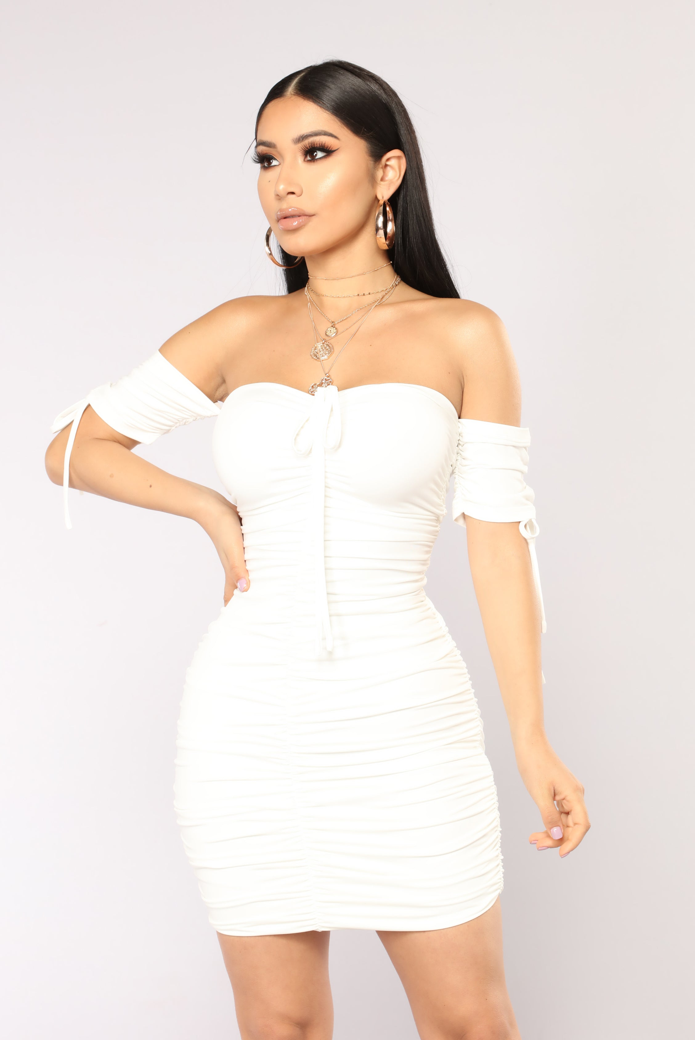 Ruched White Dress