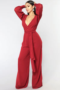 Moonshine Chiffon Jumpsuit - Red
