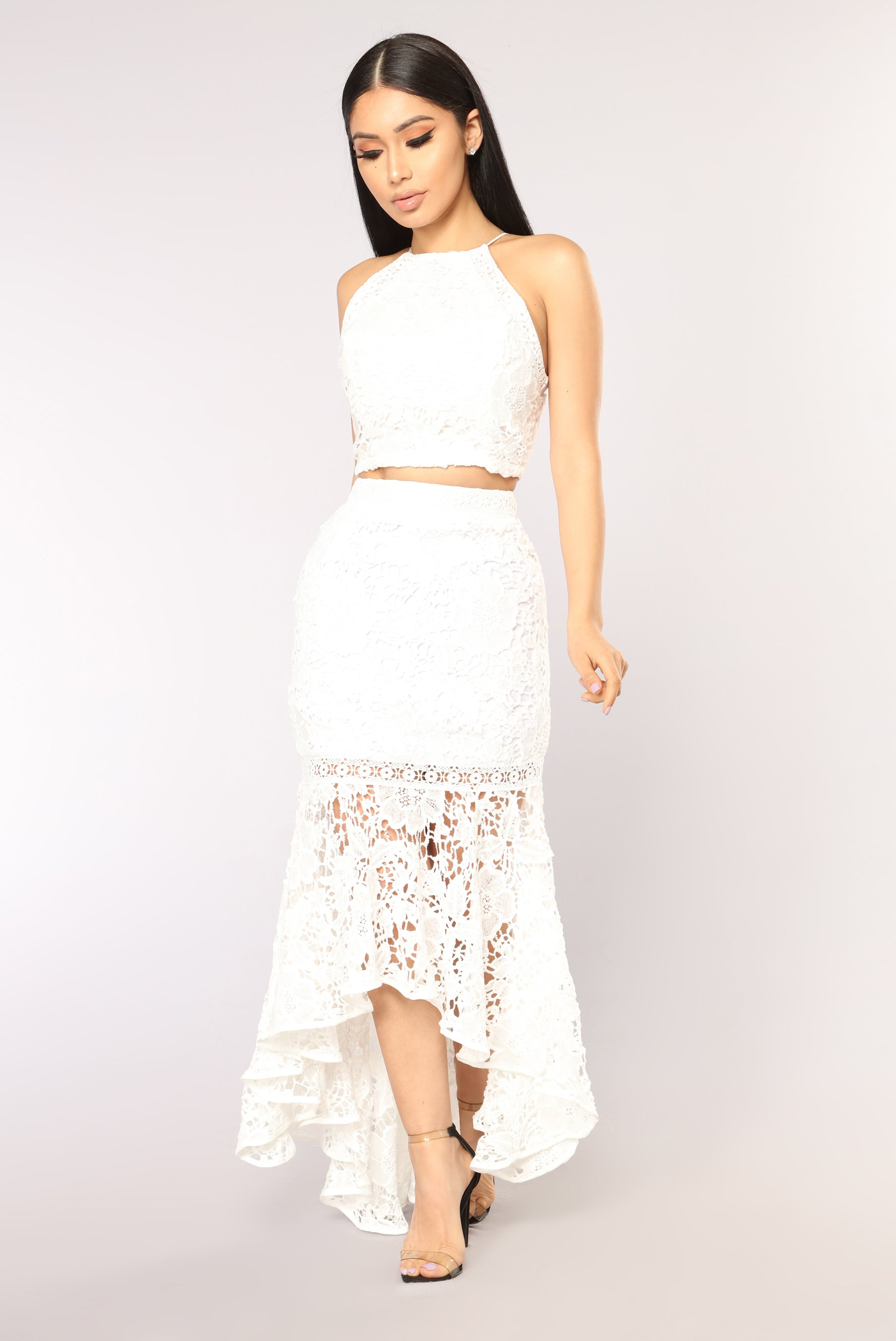 Fresh Not Your Average Girl Lace Skirt - White CA05
