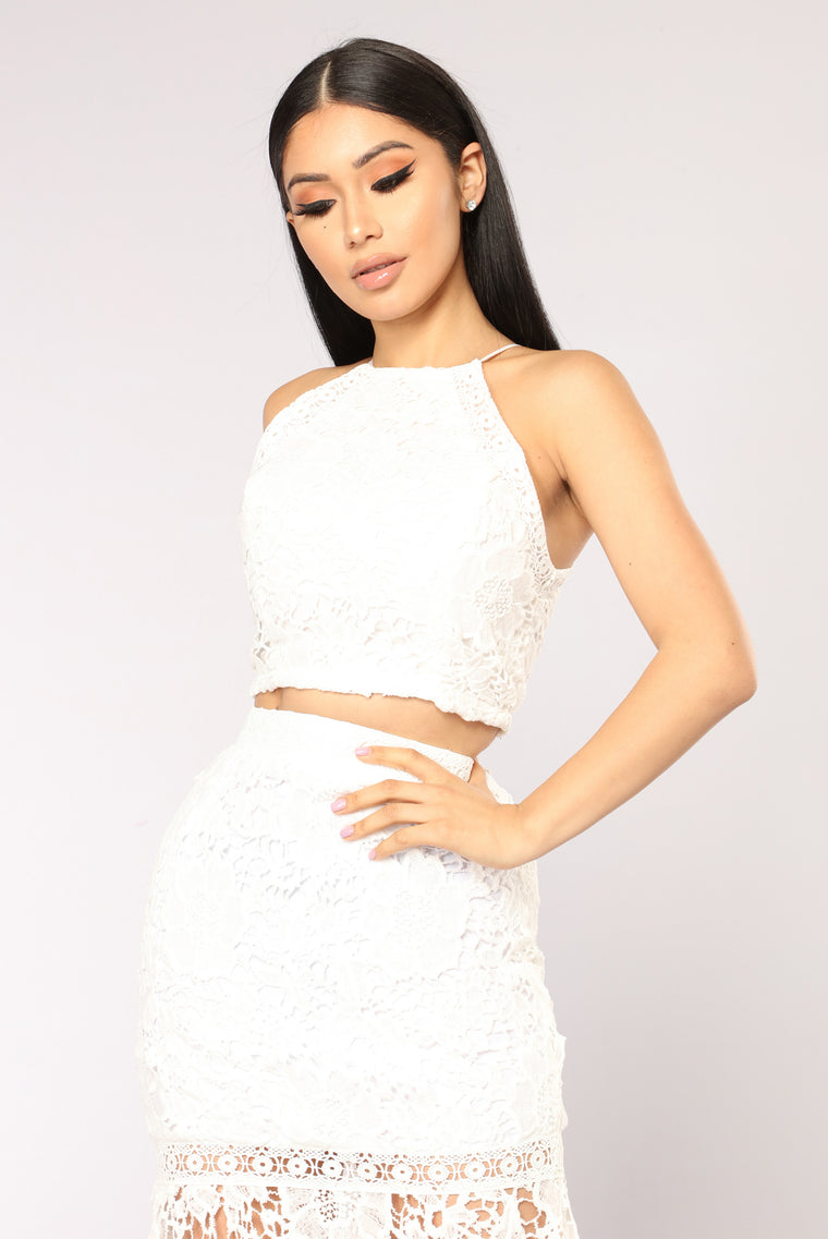 Not Your Average Girl Lace Top - White