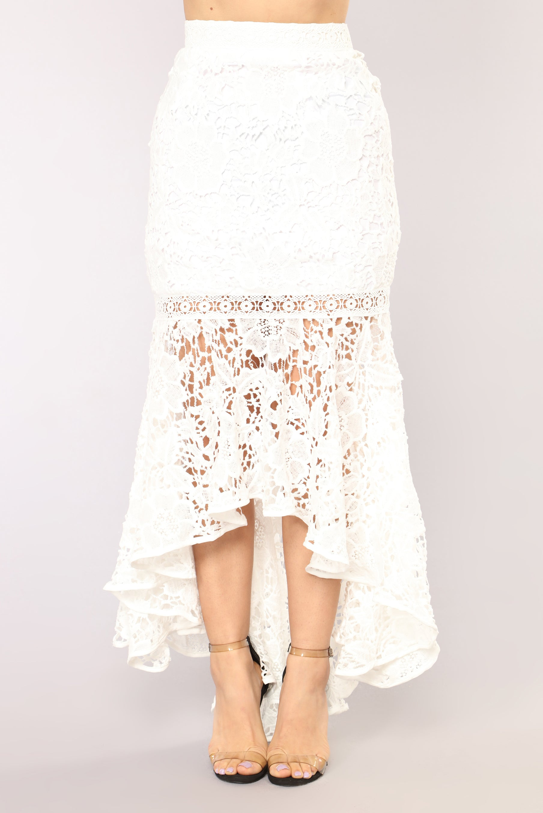 Very Not Your Average Girl Lace Skirt - White VG62