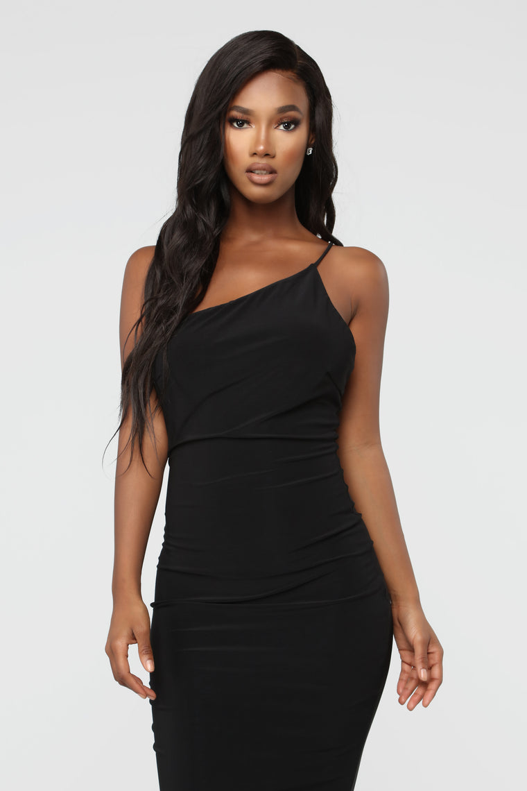Aim To Intrigue Asymmetric Midi Dress - Black